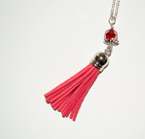 Festival Jewelry, Long Boho Necklace, Dark Pink Tassel Necklace, Boho Fringe Jewelry, Layering Necklace, Long Tassel Pendant, Coral Necklace