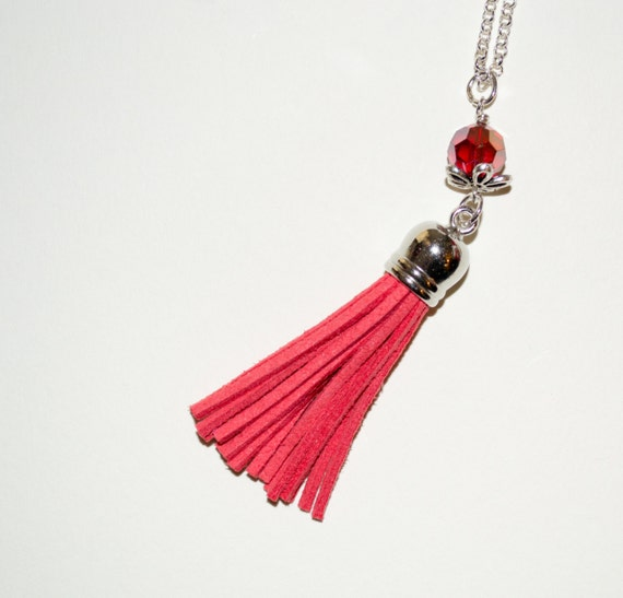 Tassel Necklace - Dark Coral