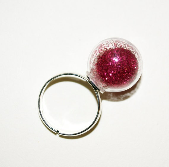 Globe Ring, Adjustable Ring, Red Glitter Ring, Glass Ball Jewelry, Statement Ring, Quirky Jewelry, Red Glitter Ball Ring, Glass Ball Ring