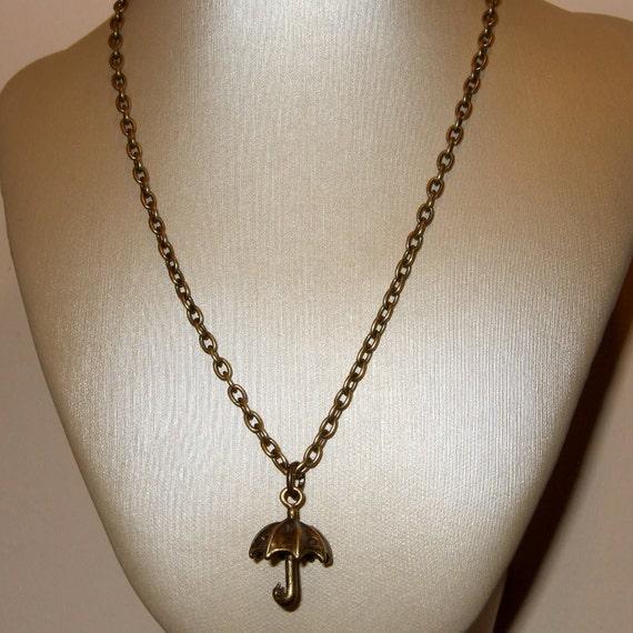 Umbrella Necklace, Brolly Pendant, Bronze Umbrella Charm, Rainy Day Necklace, Weather Jewelry, Simple Jewelry, Everyday Necklace, Mini Charm