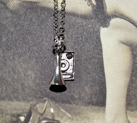 Gramophone Necklace, Stereo Charm, Retro Radiogram, Gramophone Pendant, Music Jewelry, Radio Charm Necklace, Silver Stereo Charm Pendant