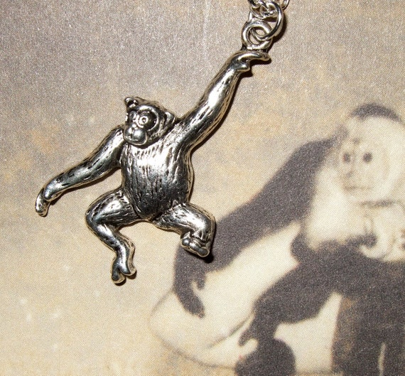 Monkey Necklace, Swinging Monkey, Animal Necklace, Monkey Charm, Animal Charm Pendant, Chimpanzee Charm, Chimp Necklace, Simple Necklace