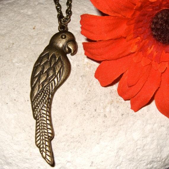Parrot Necklace, Big Tropical Bird Pendant, Large Charm Necklace, Parrot Jewelry, Bird Necklace, Parrot Lover Gift, Bronze Parrot Pendant