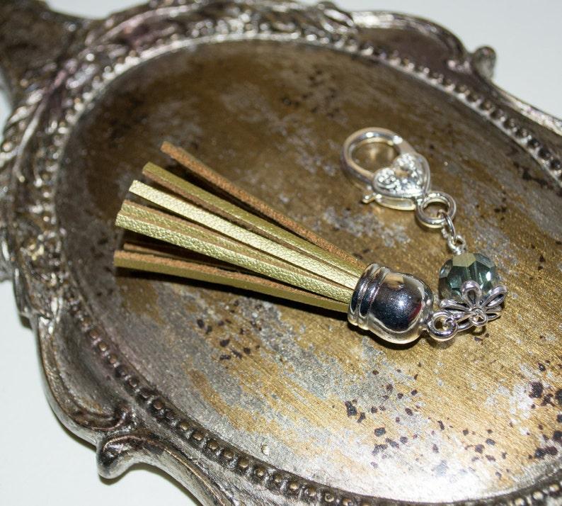 Tassel Key Charm Boho Purse Charm Gold Tassel Keyring Boho image 0