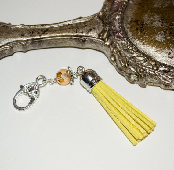 Boho Bag Charm, Yellow Tassel Keyring, Tassel Key Charm, Zipper Pull, Purse Charm, Boho Tassel Charm, Purse Clip, Bag Charm, Tassel Zip Pull