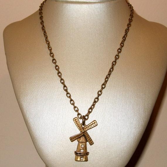 Windmill Necklace, Netherlands Jewelry, Dutch Windmill, Bronze Windmill Charm, Windmill Pendant, Holland Necklace, Simple Charm Jewelry