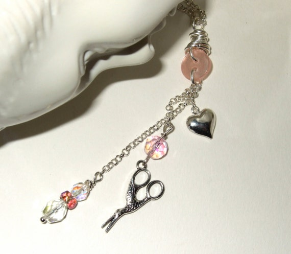 Sewing Necklace, Stork Scissors Charm, Pink Bead Necklace, Sewing Theme Jewelry, Mini Scissors Jewelry, Seamstress Necklace, Sewing Pendant