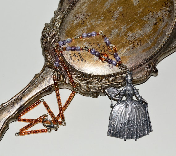 Marie-Antoinette Necklace - Purple / Orange