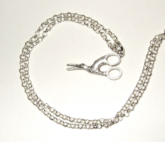 Stork Scissors Necklace
