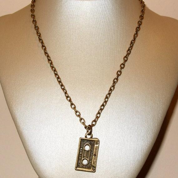 Cassette Necklace, Retro Cassete Tape, Old School Cassette, Music Necklace, DJ Jewelry, Cassette Tape Charm, Simple Necklace, Tape Jewelry