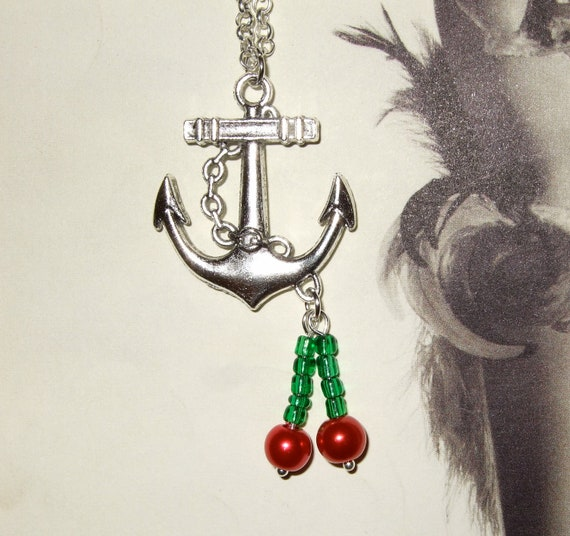 Rockabilly Necklace, Anchor Pendant, Cherry Necklace, Tattoo Style, Rockabilly Jewelry, Anchor Necklace, Bead Cherries, Red Cherry Necklace