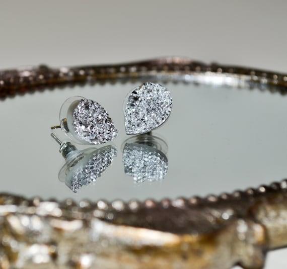 Silver Druzy Teardrop Earrings