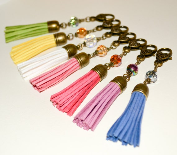 Handbag Accessories Set, Set of Seven Bag Charm Clips, Rainbow Tassels, Purse Charm, Bag Accessories, Zipper Clips, Tassel Keychain, Multi