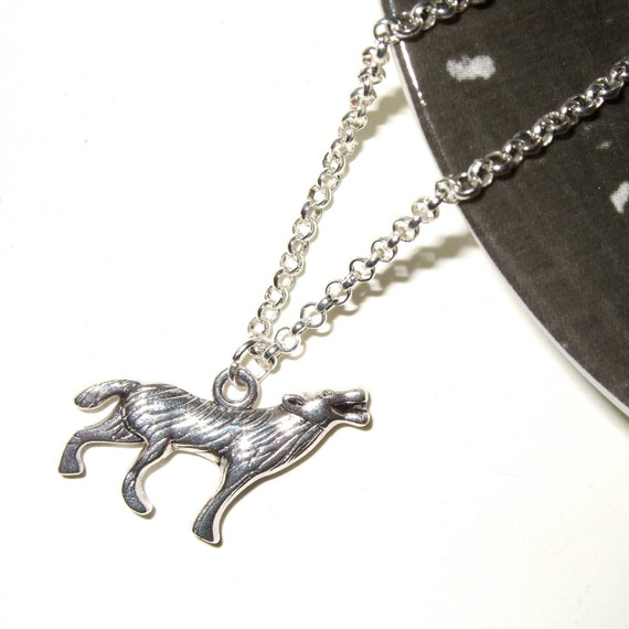 Howling Wolf Necklace, Silver Wolf Charm, Werewolf Necklace, Wolf Charm Necklace, Werewolf Charm, Wolf Jewelry, Wolves Necklace, Baying Wolf