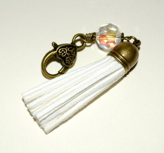 Tassel Keychain, Boho Bag Charm, Purse Charm, Bag Accessories, White Suede, Bag Clip, Keychain Clip, Boho Tassel Keyring, Purse Zip Charm