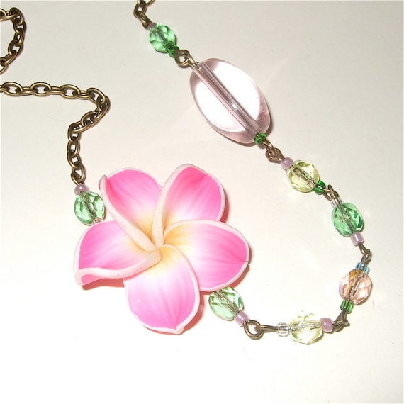 Flower Necklace, Polymer Clay Flower, Pink Necklace, Floral Jewelry, Pink Flower Necklace, Asymmetrical Necklace, Pink and Green, Big Flower