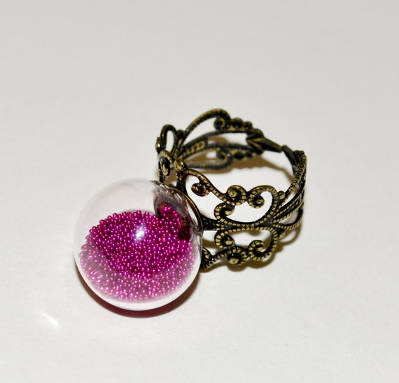 Glass Cocktail Ring, Adjustable Ring, Statement Ring, Glass Globe Ring, Glass Ball Ring, Pink Ring, Fashion Jewelry, Glass Ball Jewelry