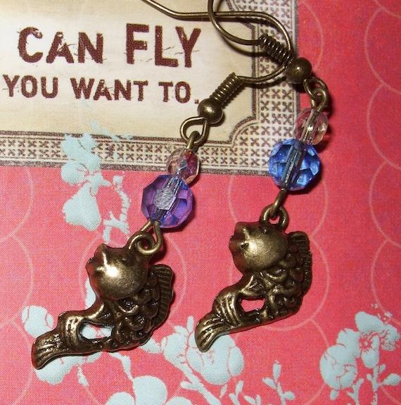 Koi Earrings, Fish Jewelry, Drop Earrings, Koi Fish Earrings, Purple and Blue, Tattoo Style Bronze Koi Charms, Japanese Koi Dangle Earrings