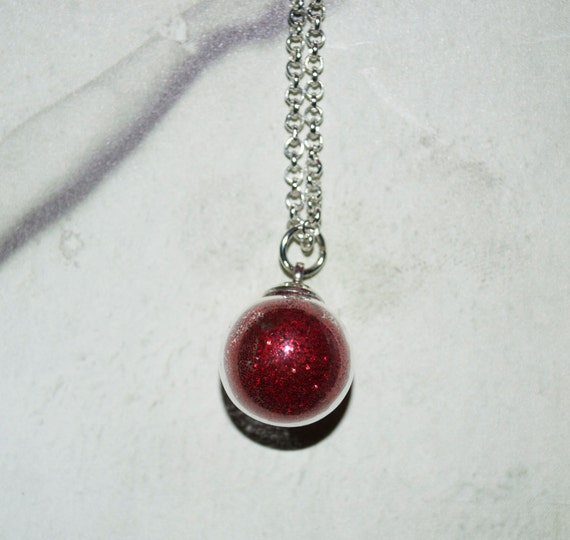 Glitter Ball Necklace, Orb Pendant, Glass Globe, Red Glitter, Glass Orb, Glitter Necklace, Silver Chain, Glitter Ball Pendant, Glass Jewelry