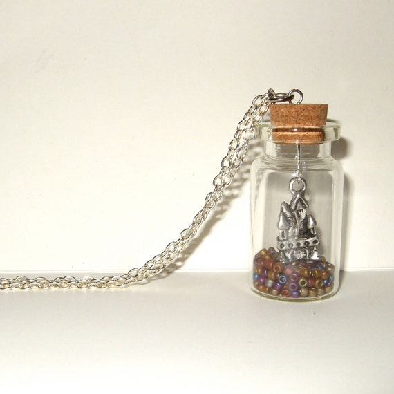 Bottle Necklace, Fairy Tale Jewelry, Castle Pendant, Glass Bottle, Fairytale Castle, Bottle Pendant, Silver Castle Charm, Bead Filled Bottle