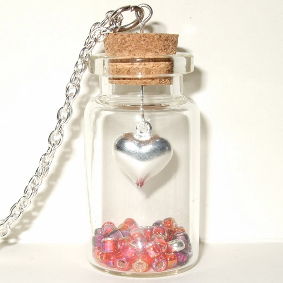 Heart Necklace, Bottle Pendant, Love Heart Jewelry, Heart in a Bottle, Valentine Jewelry, Love Token, Red Necklace, Glass Bottle, Love Heart