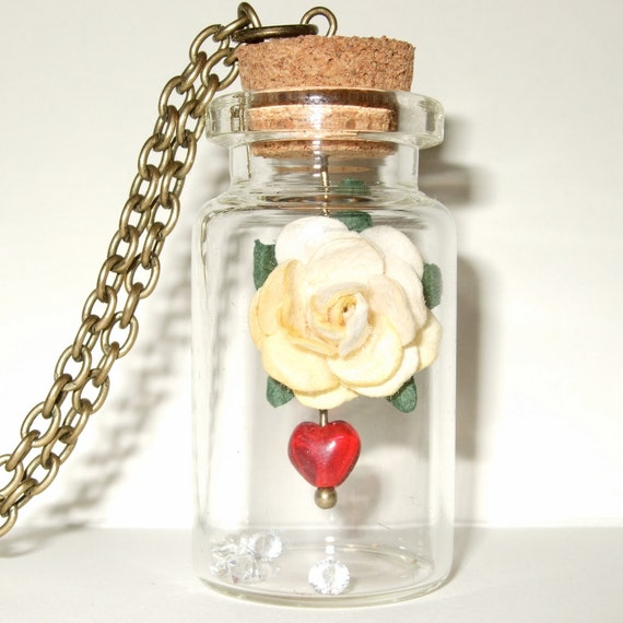 Bottle Necklace, Paper Rose, Cream Flower, Rose Necklace, Sleeping Beauty, Red Glass Heart, Romantic Gift, Paper Flower, Bottle Jewellery