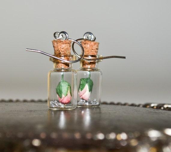 Bottle Earrings - Pink Rose