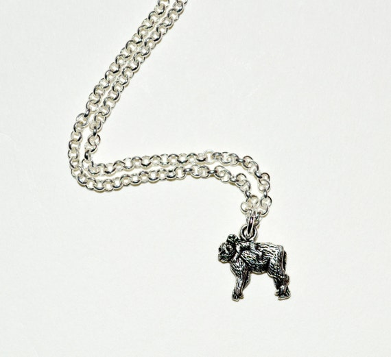 Gorilla Necklace, Gorilla and Baby, Monkey Necklace, Gorilla Charm Necklace, Mother and Baby Necklace, Gorilla Jewelry, Gorilla Pendant