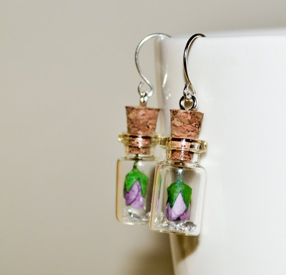 Bottle Earrings - Purple Rose