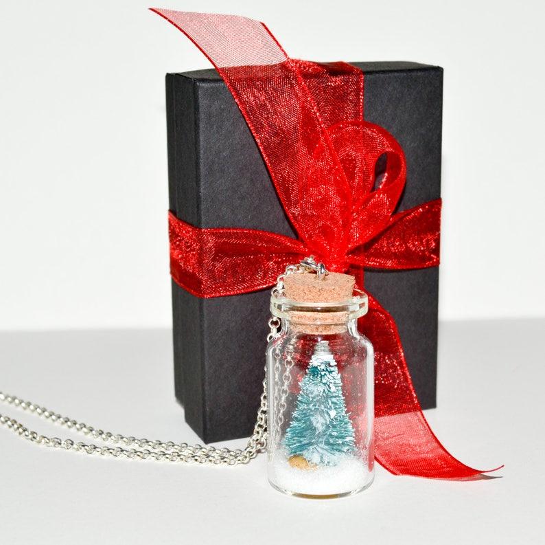 Christmas Necklace Secret Santa Gift Glass Bottle Necklace image 0