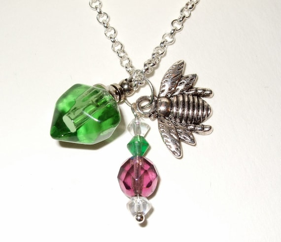 Bee Necklace, Green Glass Bottle, Bright Green Glass, Perfume Bottle, Purple and Green, Silver Bee Charm, Bee Jewelry, Bee Bottle Necklace