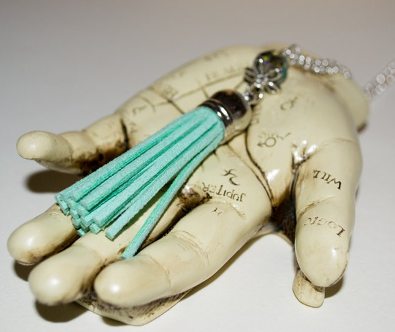 Mint Green Tassel Necklace, Long Boho Necklace, Boho Jewelry, Long Fringed Tassel Pendant, Layering Necklace, Festival Style, Pastel Jewelry