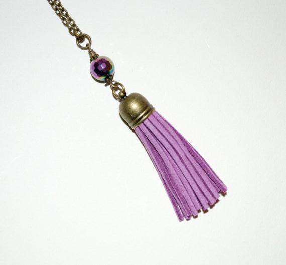 Tassel Necklace, Purple Tassel Jewelry, Layering Necklace, Boho Jewelry, Long Tassel, Long Necklace, Violet Boho Necklace, Boho Pendant