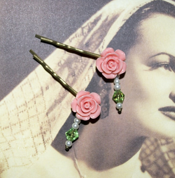 Flower Bobby Pins, Pink Rose Hair Pins, Rose Hair Grips, Flower Hair Slides, Pretty Hair Accessories, Beaded Bobby Pins, Pink and Green Pins