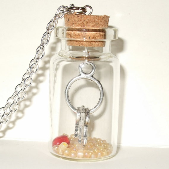 Keys Necklace, Bottle Pendant, Keys in a Bottle, Red Glass Heart, Bunch of Keys, Keyring Charm, Glass Bottle Necklace, Red and Yellow