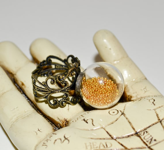 Adjustable Ring, Statement Ring, Glass Globe Ring, Glass Ball Ring, Gold Jewelry, Glass Ring, Fashion Jewelry, Glass Ball Jewelry