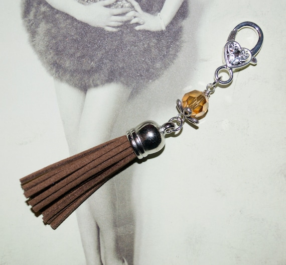 Boho Tassel Clip, Brown Purse Accessories, Brown Tassel Keyring, Tassel Key Charm, Boho Purse Charm, Zipper Pull, Bag Charm, Tassel Zip Pull