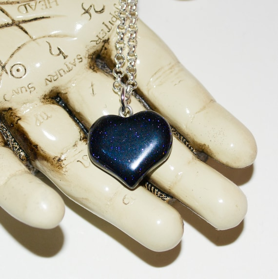 Heart Necklace, Blue Goldstone, Glitter Heart, Dark Blue Stone, Heart Pendant, Glass Heart Necklace, Quartz Jewelry, Valentines Gift for her