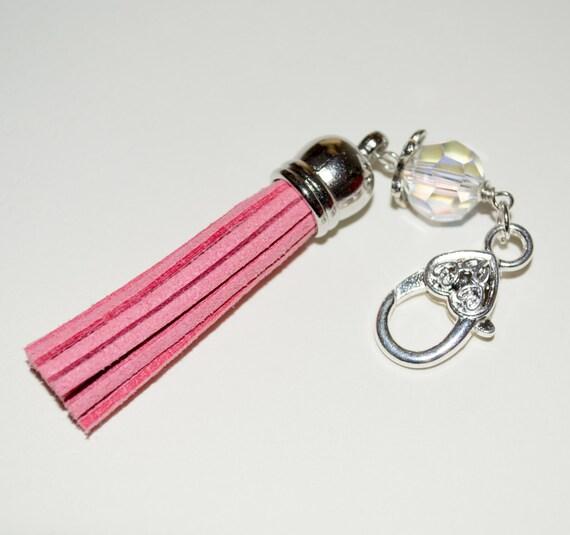 Pink Tassel Keyring, Boho Tassel Clip, Pink Charm, Tassel Key Charm, Zip Pull, Handbag Charm, Bag Charm, Tassel Zip Pull, Boho Purse Charm