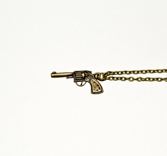 Gun Necklace, Pistol Pendant, Revolver Necklace, Gun Charm, Bronze Charm, Simple Necklace, Everyday Jewelry, Gun Jewelry, Handgun Necklace