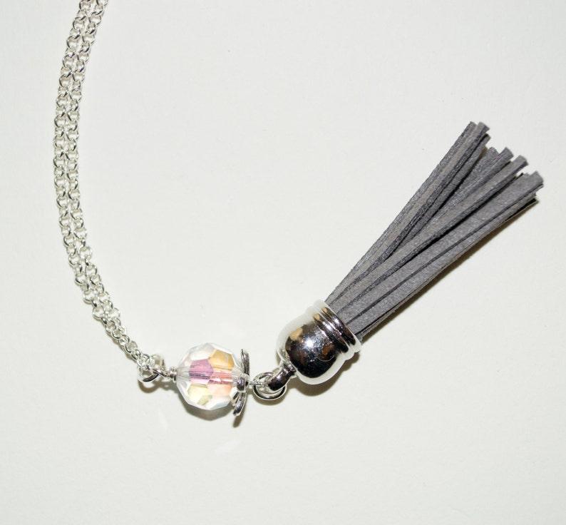 Long Boho Necklace Grey Tassel Pendant Long Tassel Necklace image 0
