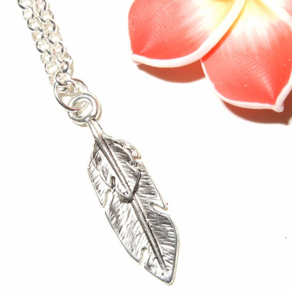 Feather Necklace, Silver Feather Charm, Feather Pendant, Little Feather, Feather Jewelry, Silver Feather, Simple Necklace, Everyday Jewelry