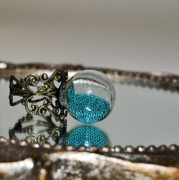 Statement Ring, Glass Globe Ring, Glass Ball Ring, Teal Jewelry, Glass Cocktail Ring, Adjustable Ring, Turquoise Jewelry, Glass Ball