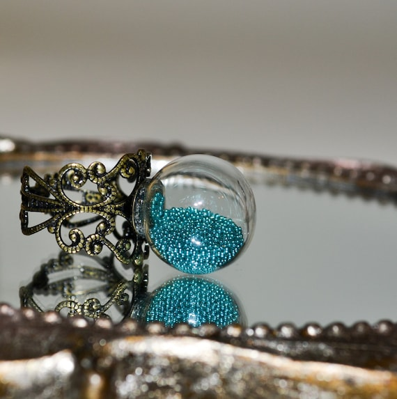 Glass Cocktail Ring - Teal