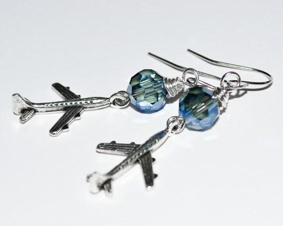 Airplane Earrings, Drop Earrings, Aeroplane Earrings, Dangle Earrings, Plane Jewelry, Airplane Jewelry, Stewardess Gift, Air Hostess Jewelry