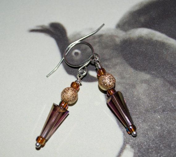 Drop Earrings, Amethyst Glass, Dangle Earrings, Arrow Earrings, Glass Spike, Amethyst and Gold, Glass Jewelry, Earrings, Glass Drop Earrings