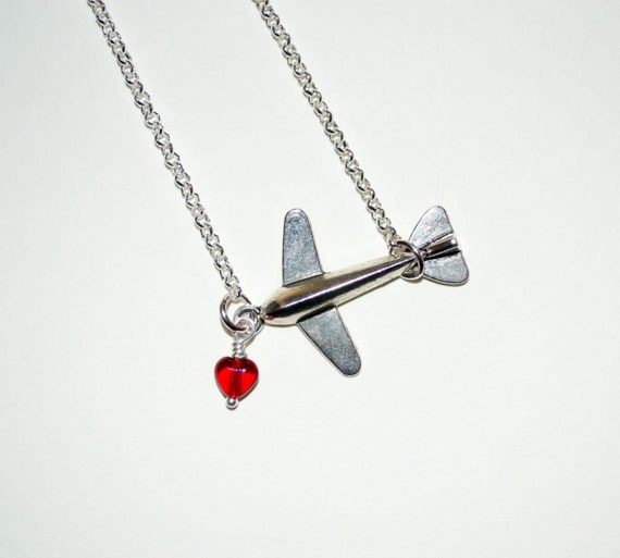 Aeroplane Necklace, Silver Airplane Necklace, Flying Necklace, Travel Gift, Bon Voyage Jewelry, Plane Charm, Airplane Jewelry, Pilot Gift