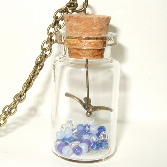 Bird Necklace, Bird in a Bottle, Blue Bead Necklace, Flying Bird Pendant, Bottle Jewelry, Small Bird Bottle Necklace, Bronze Bird Charm