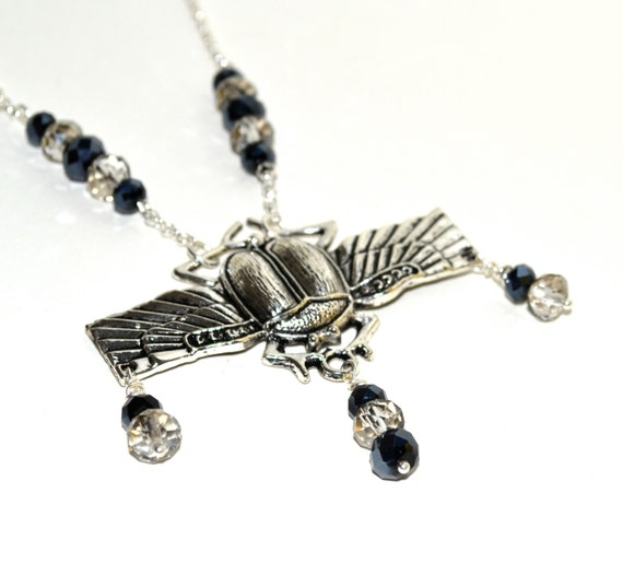 Scarab Beetle Statement Necklace, Victorian Style Silver Pendant, Crystal Bead Jewelry, Silver and Black Insect Necklace, Large Scarab Charm
