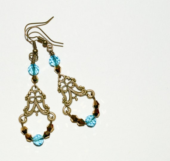 Chandelier Earrings, Aqua Crystal Drop Earrings, Boho Earrings, Ornate Earrings, Long Drop Earrings, Crystal Jewelry, Turquoise Earrings